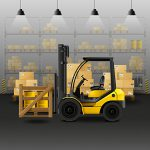 Forklift in warehouse carrying cargo boxes vector illustration