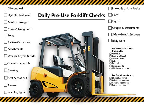 Forklift pre-use checklist