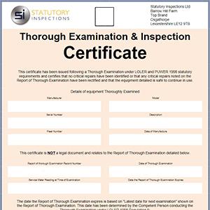 Image of blank Thorough Examination Certificate