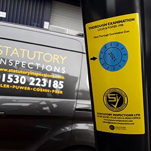 Statutory Inspections equipment label with van in background